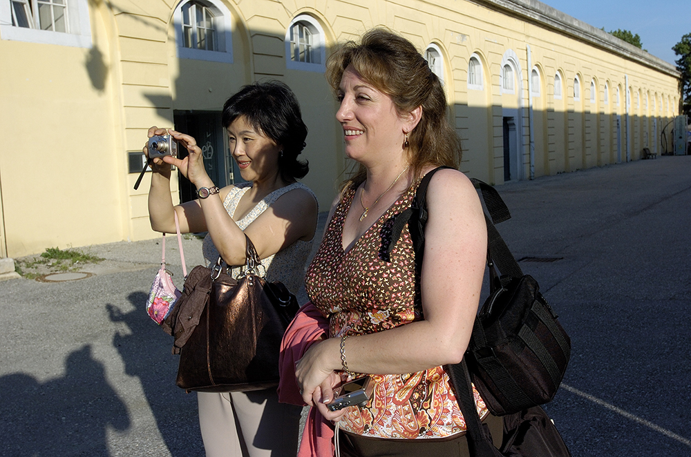 Encore parents taking photos outside the Schloss Esterházy in Eisenstadt, Austria