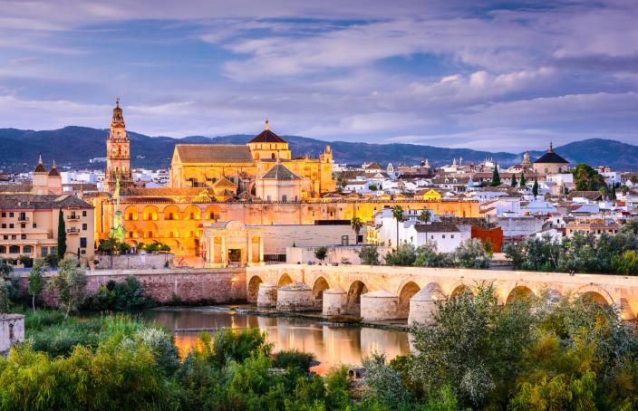 Cordoba, Spain: Old town skyline at the Mosque-Cathedral