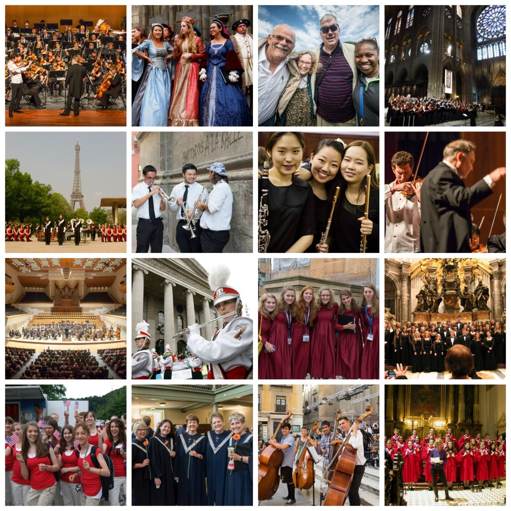 Photos of various ensembles—including bands, choirs, and orchestras—traveling
