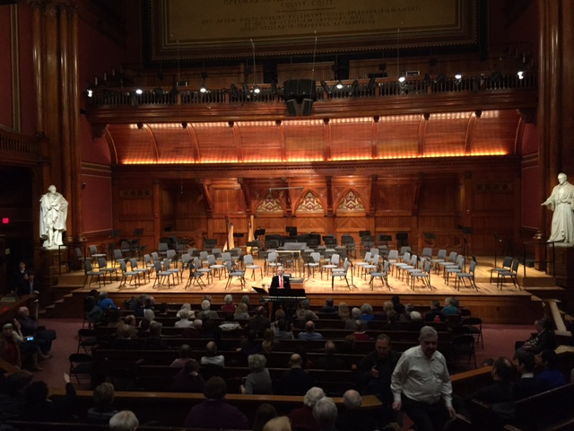 Concert hall with audience waiting for the Boston Philharmonic