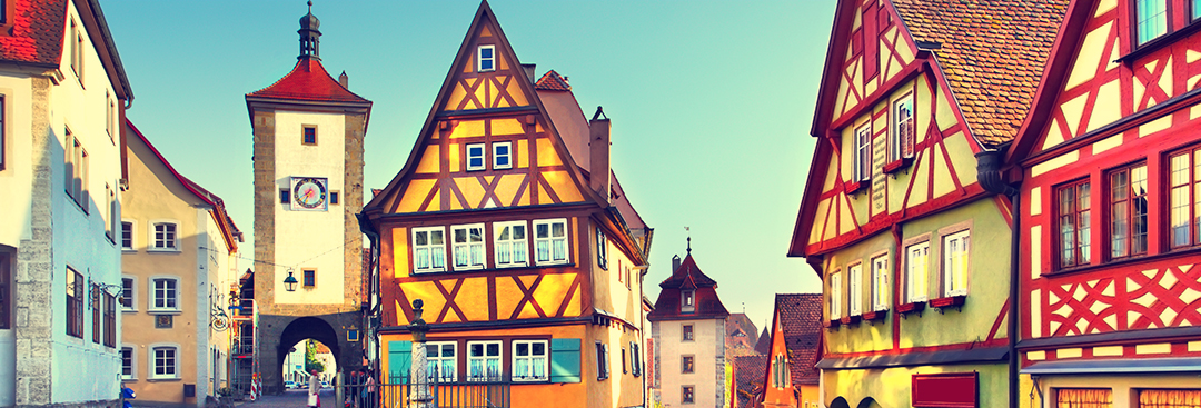 Colorful buildings in Rothenburg ob der Tauber on a clear day