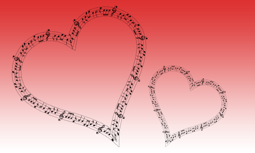 One large heart and one small heart, comprised of black musical notation, superimposed over a red-to-white gradient background