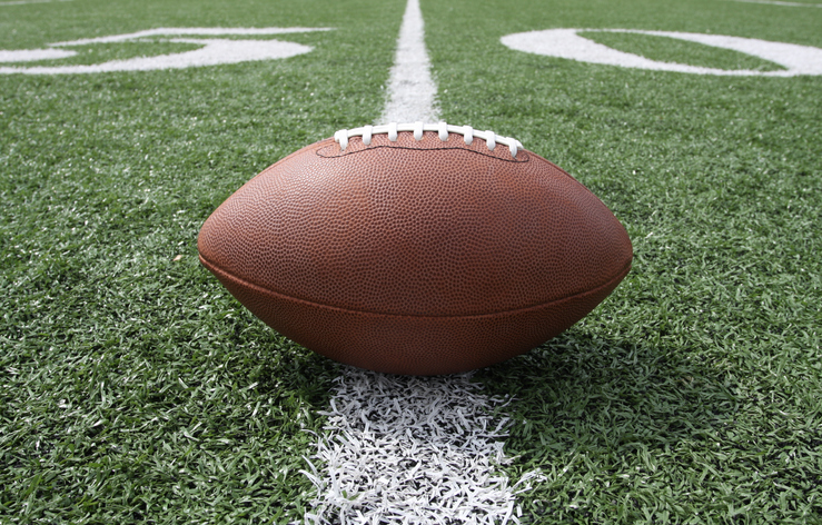 NFL football on the 50 yard line