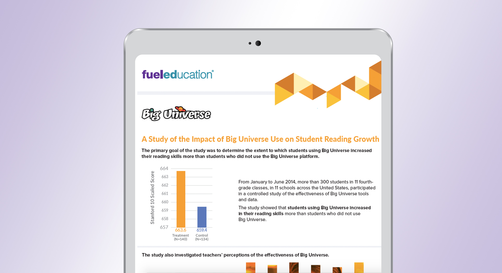 A Study of the Impact of Big Universe Use on Student Reading Growth Brochure