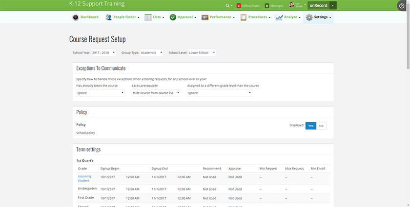 Course Request Setup Screen in Blackbaud's Student Information System