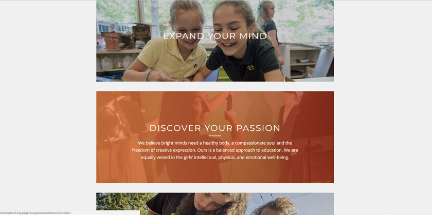 An example of panels in K-12 school website design trends.