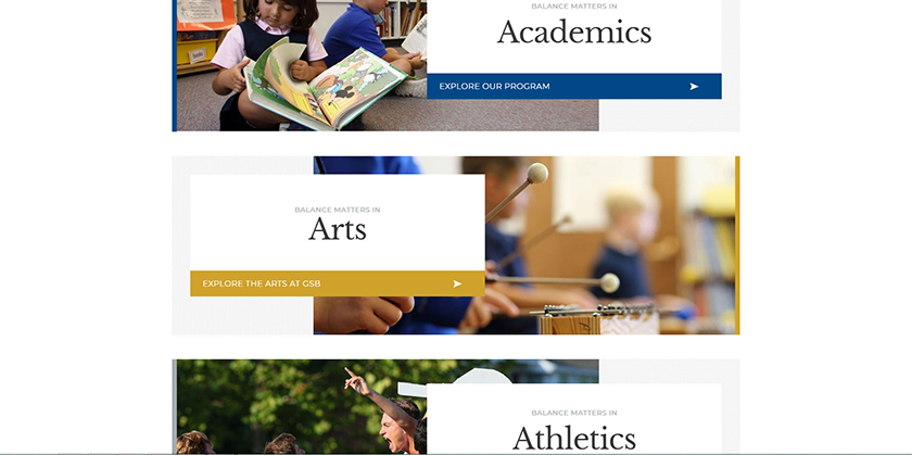 The use of unorthodox layouts in private school website design trends.