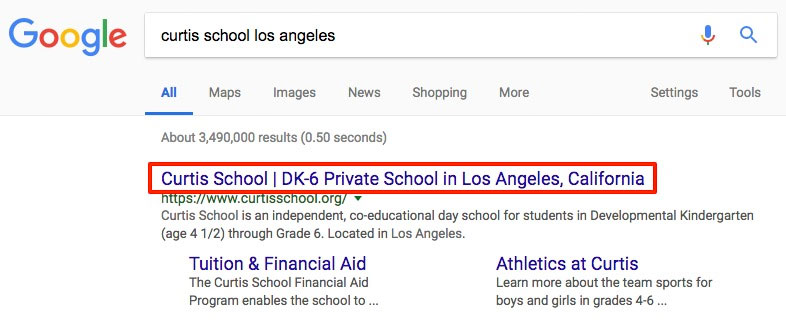 SEO Title Tag Display in Google Search Results