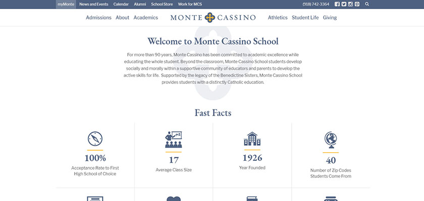 Monte Cassino private school website design example