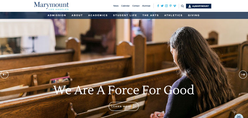 "A Catholic School website example of Marymount High School showing a student praying with the message ""We Are a Force for Good."""