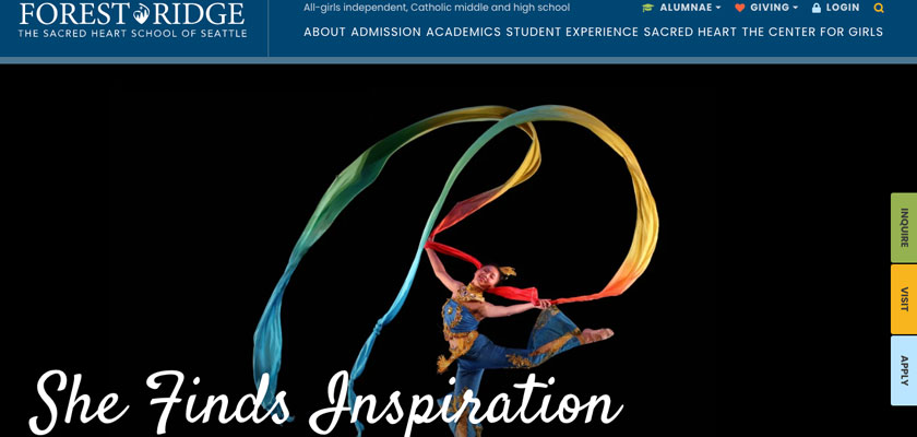 "A screenshot of Forest Ridge school's home page showing a student in a dance performance with the message ""She Finds Inspiration."""