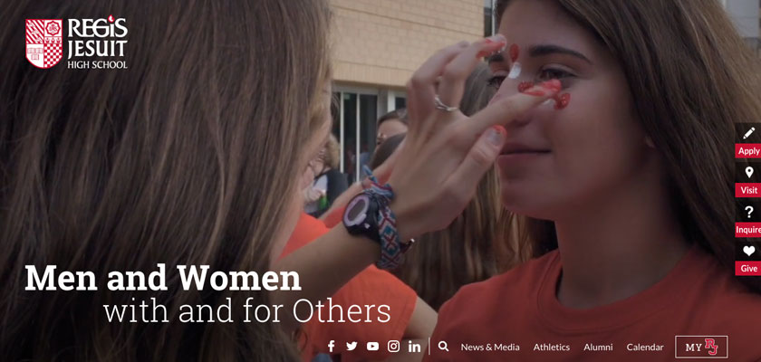 The Regis Jesuit High School homepage video showing a girl getting her face painted for a school spirit event.