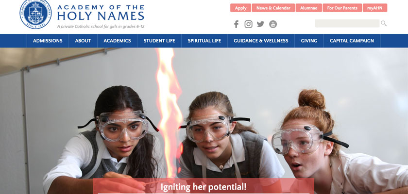 A screenshot of the Academy of the Holy Names website with a blue and white logo in the header.