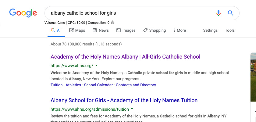 "A screenshot of a Google search for ""Albany Catholic school for girls."""