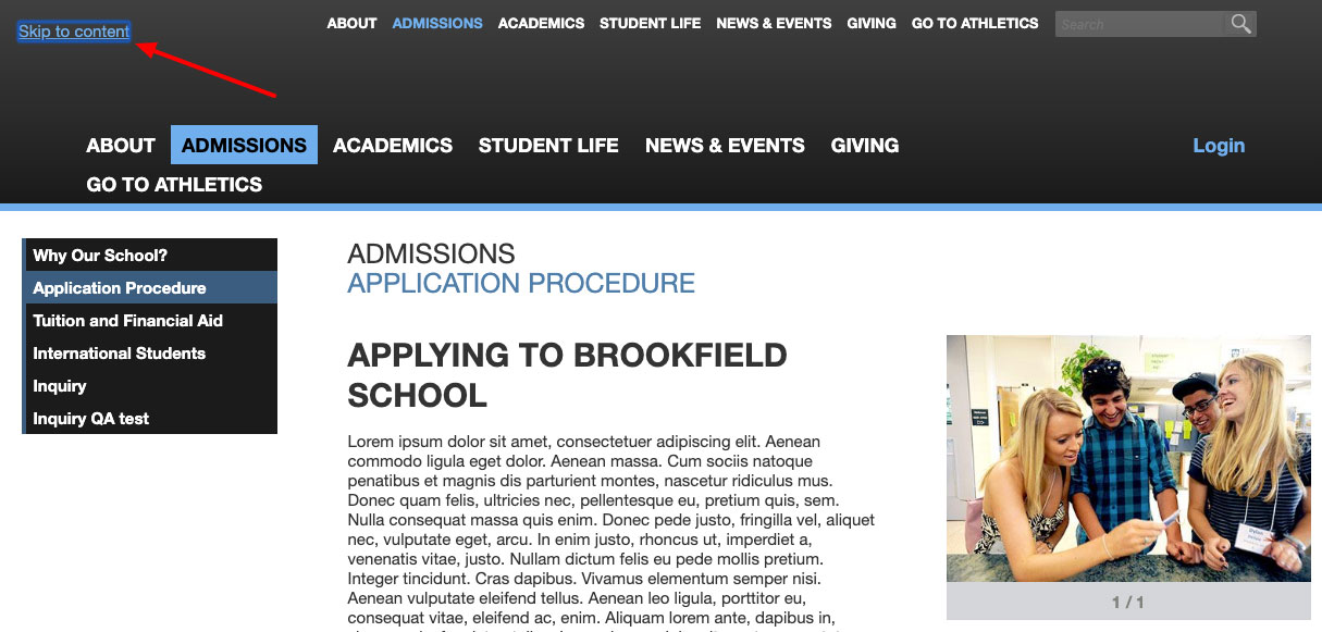 "A screenshot showing the ""Skip to content"" link appearing in the banner of a school website."
