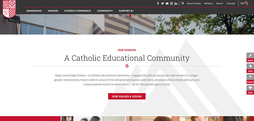 An example of minimized text on the Regis Jesuit High School website.