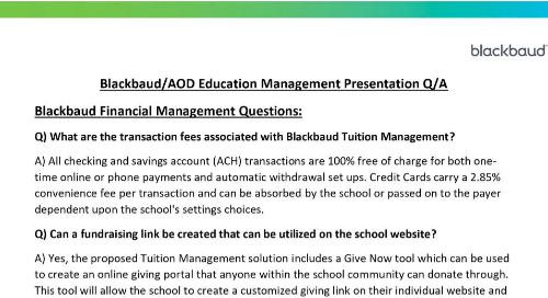 Presentation Q&A