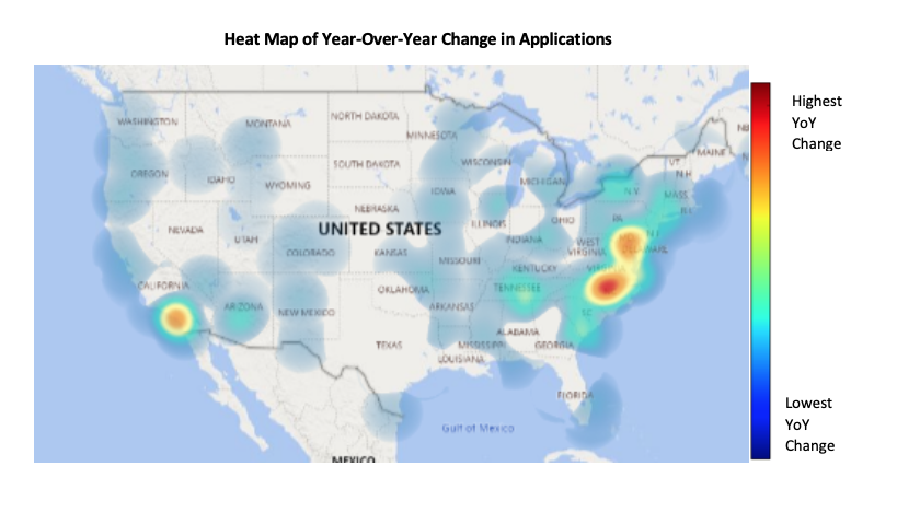 A heat map of the United States showing year-over-year application numbers in private schools.