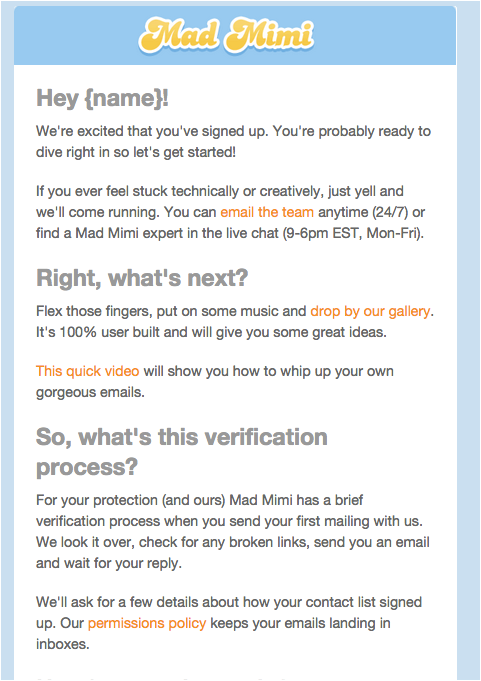Mad Mimi Onboarding Email