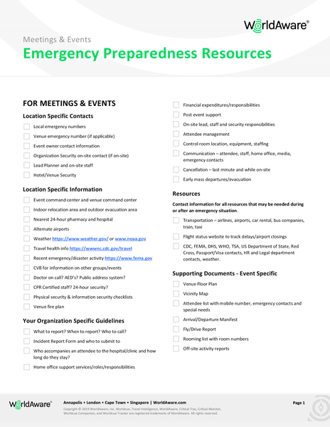 WorldAware Meetings and Events Emergency Preparedness Checklist