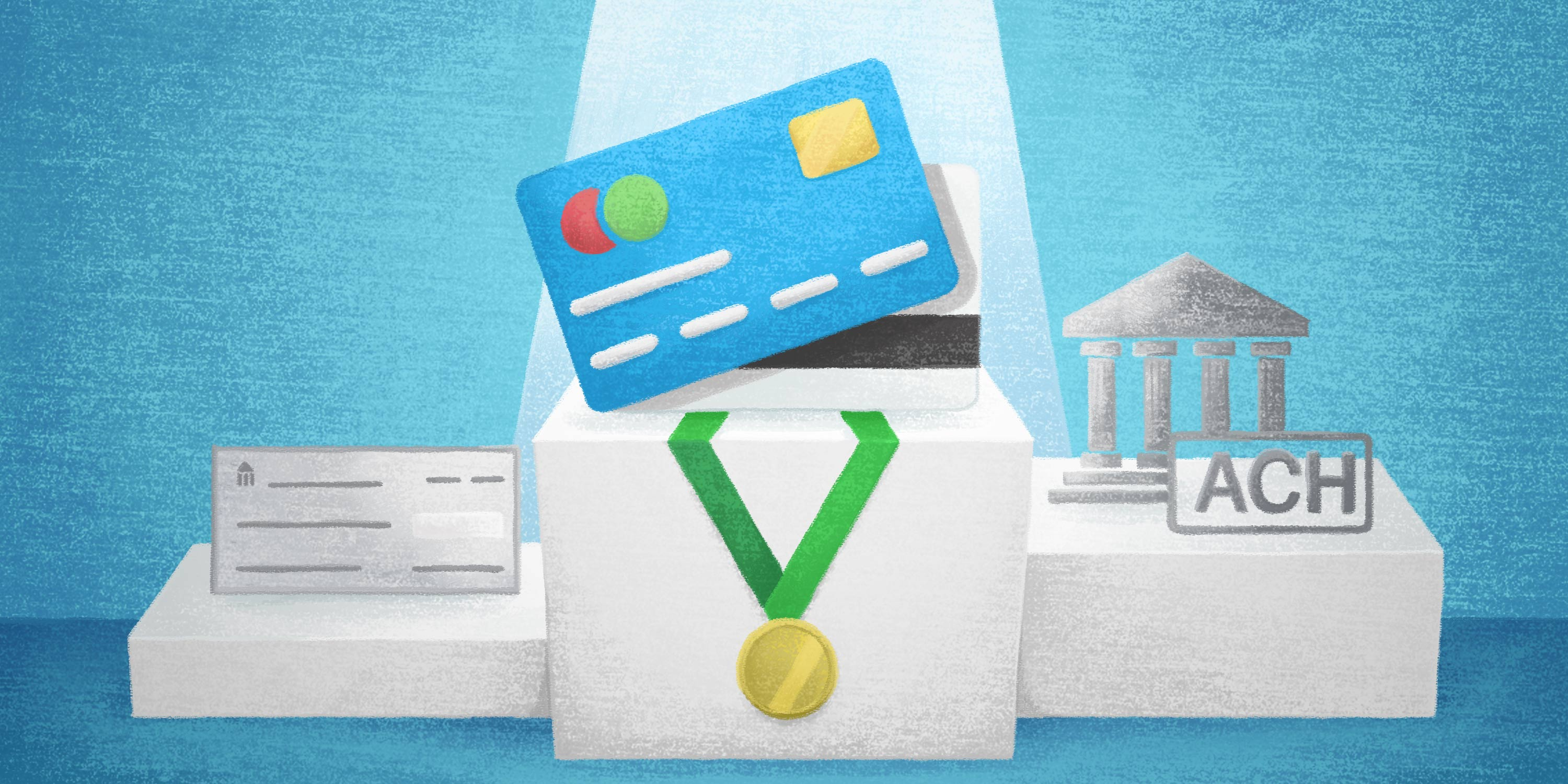 payment methods check, ach, and card with bronze, silver, and gold medals