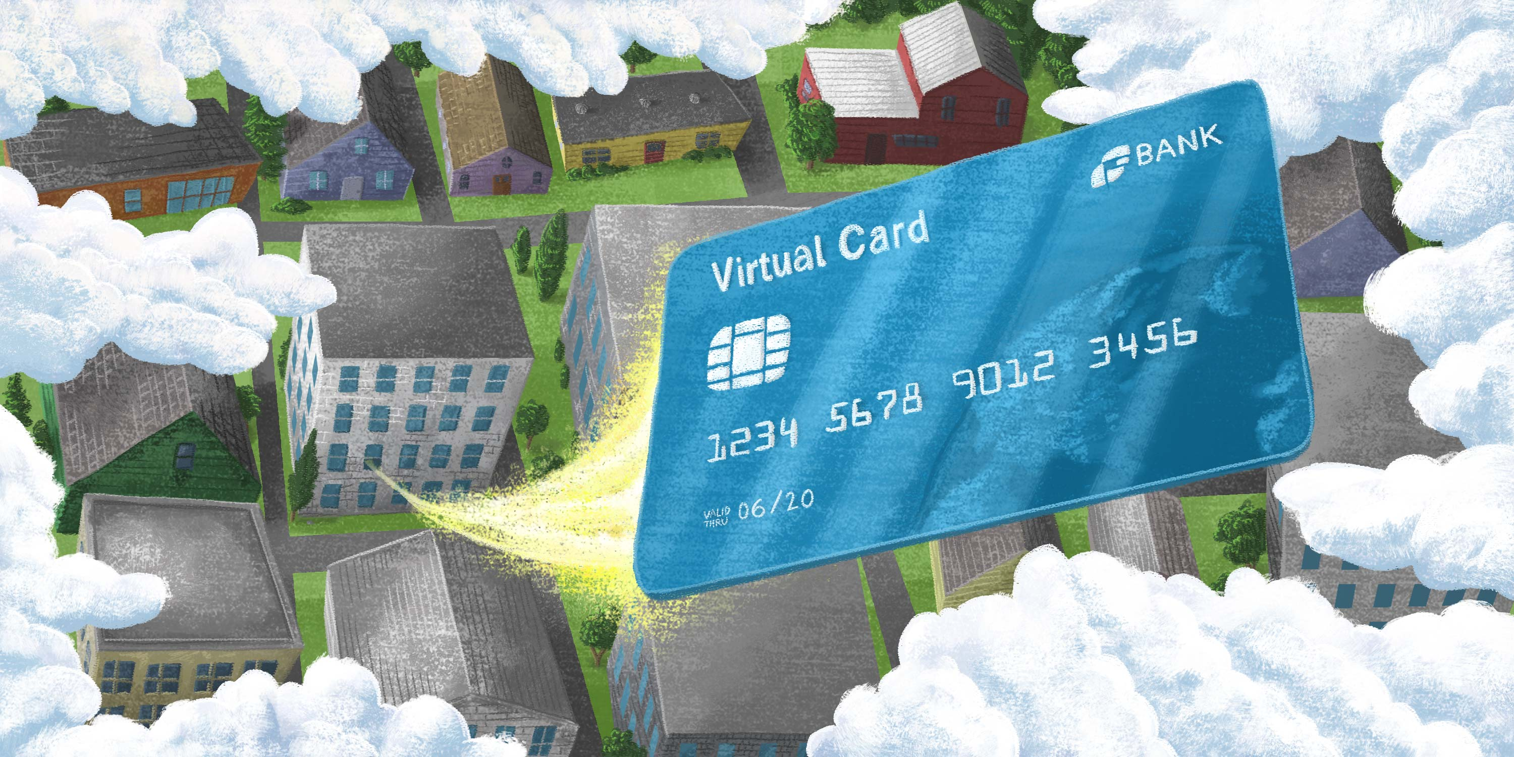 virtual card flying into the clouds from a business below