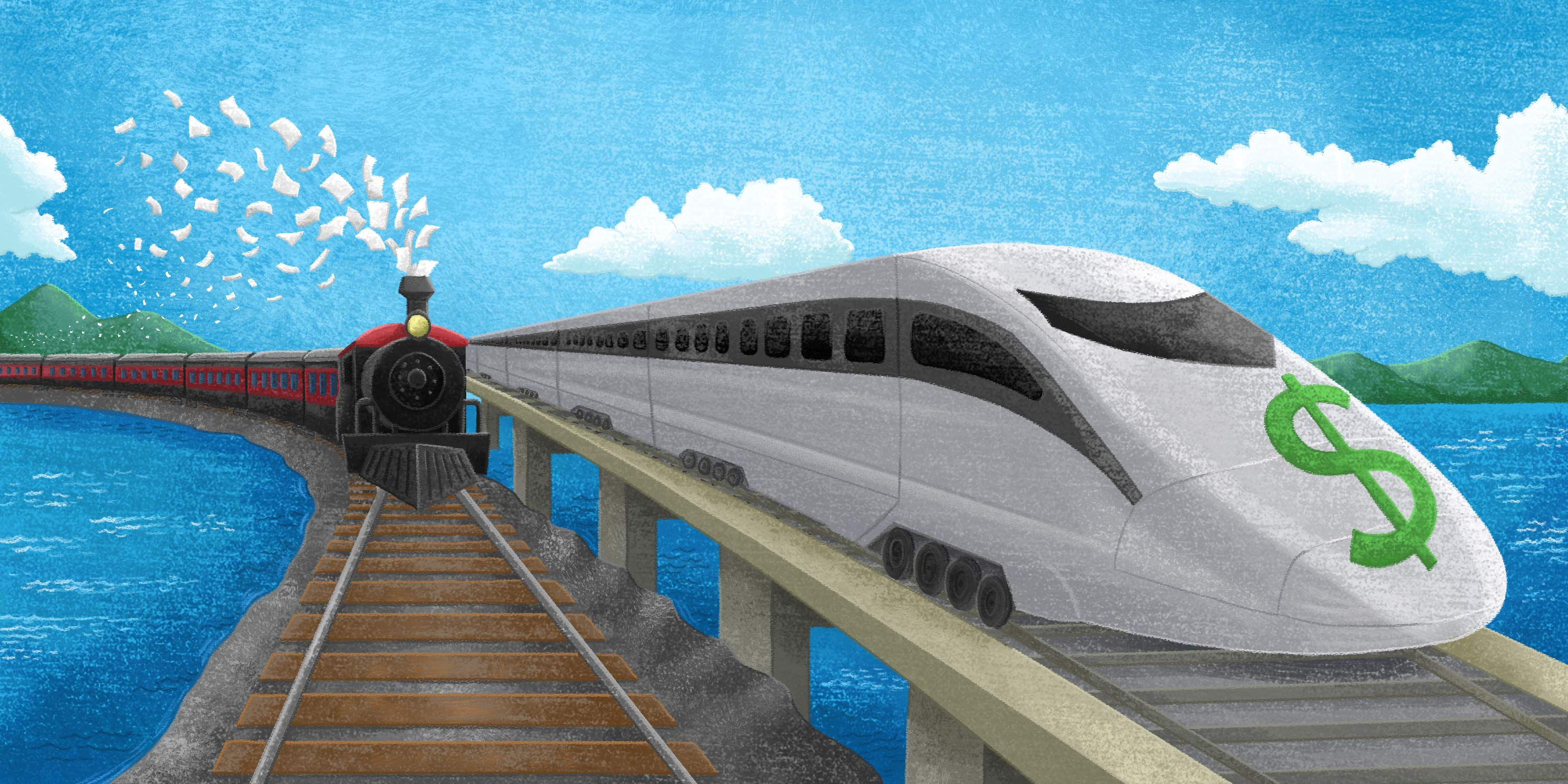 fintech payments bullet train outpacing paper payments train