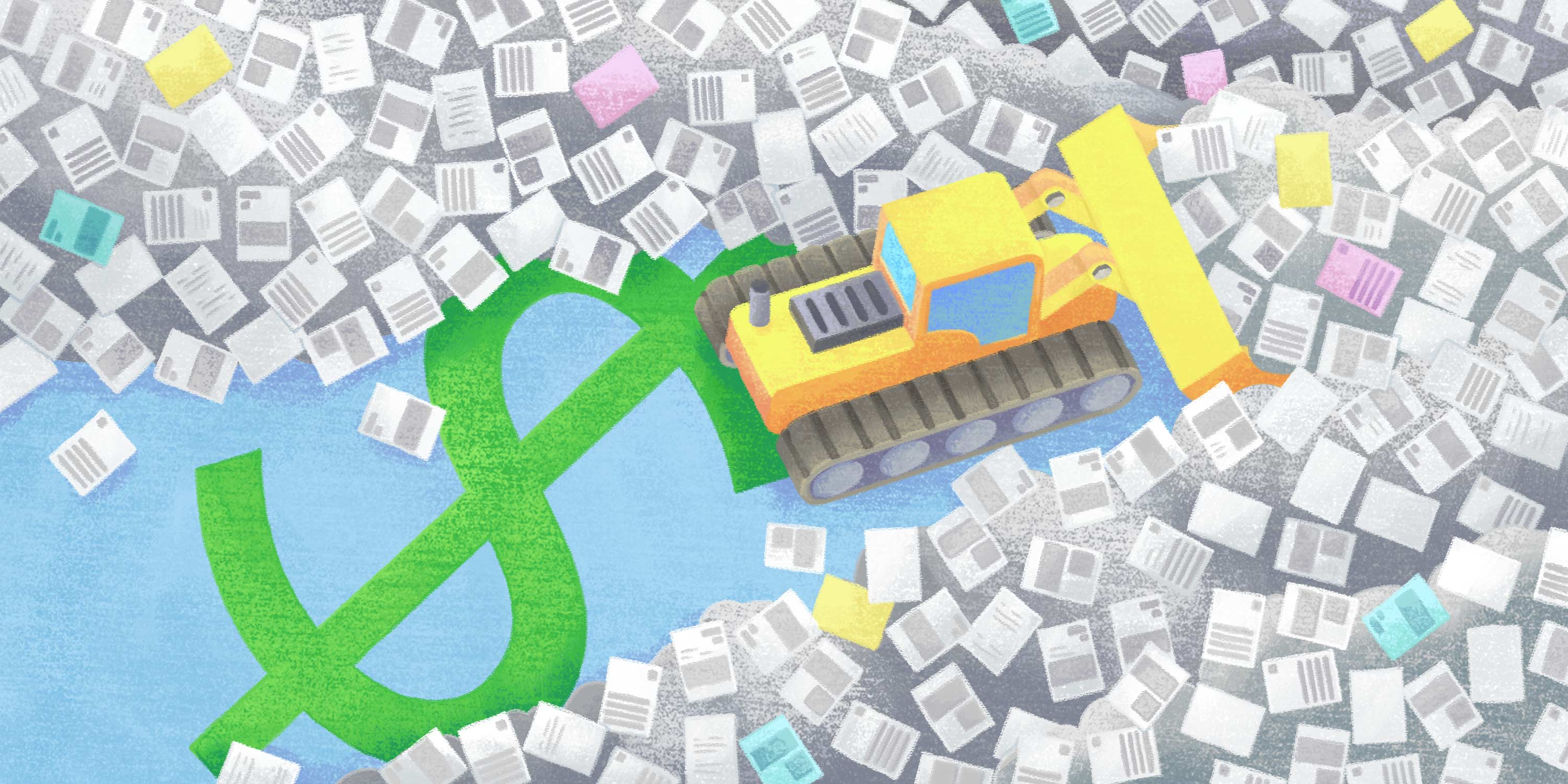 bulldozer clearing paper off of a dollar sign - go paperless