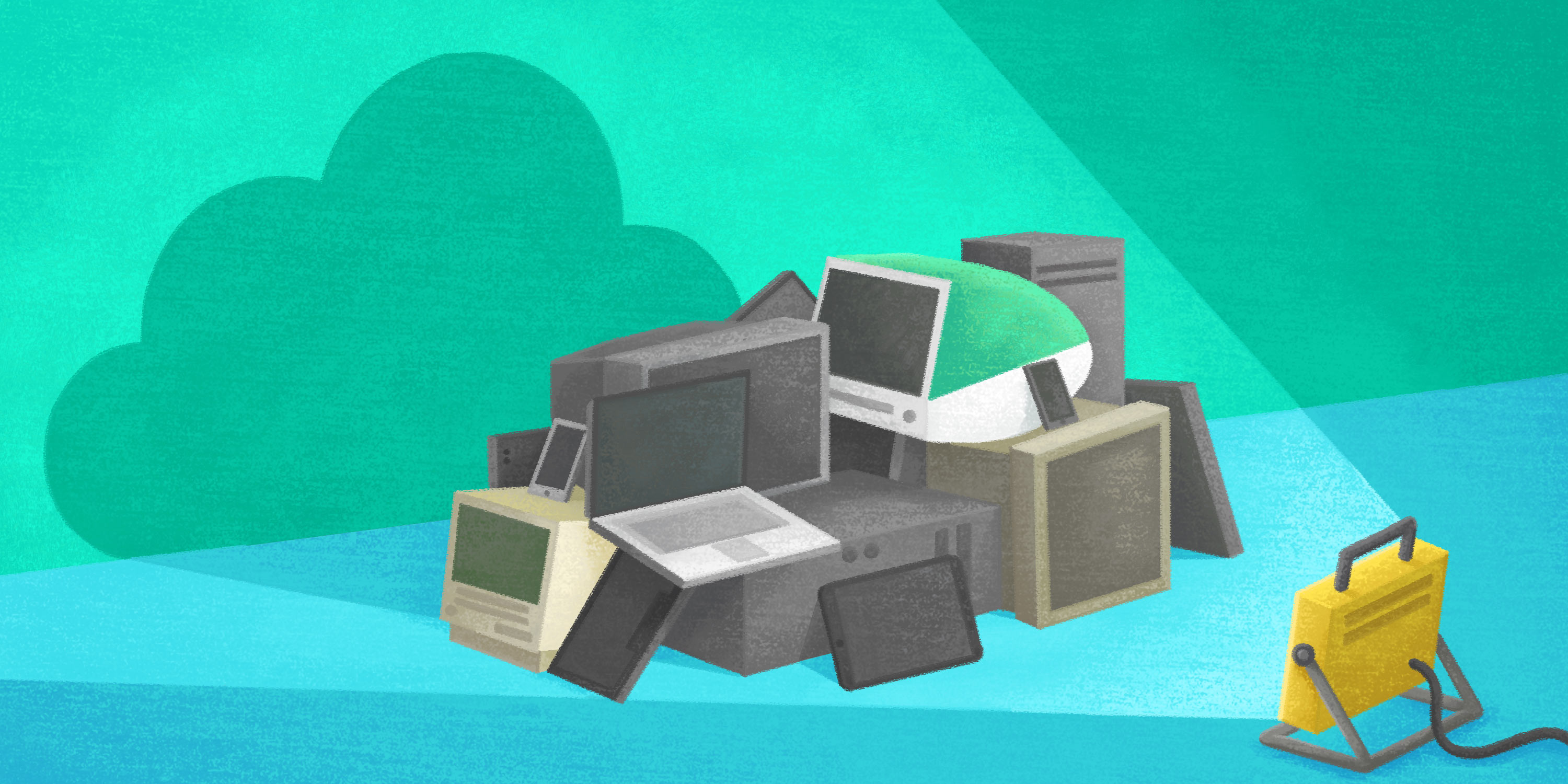 a pile of old computers is overshadowed by cloud technology
