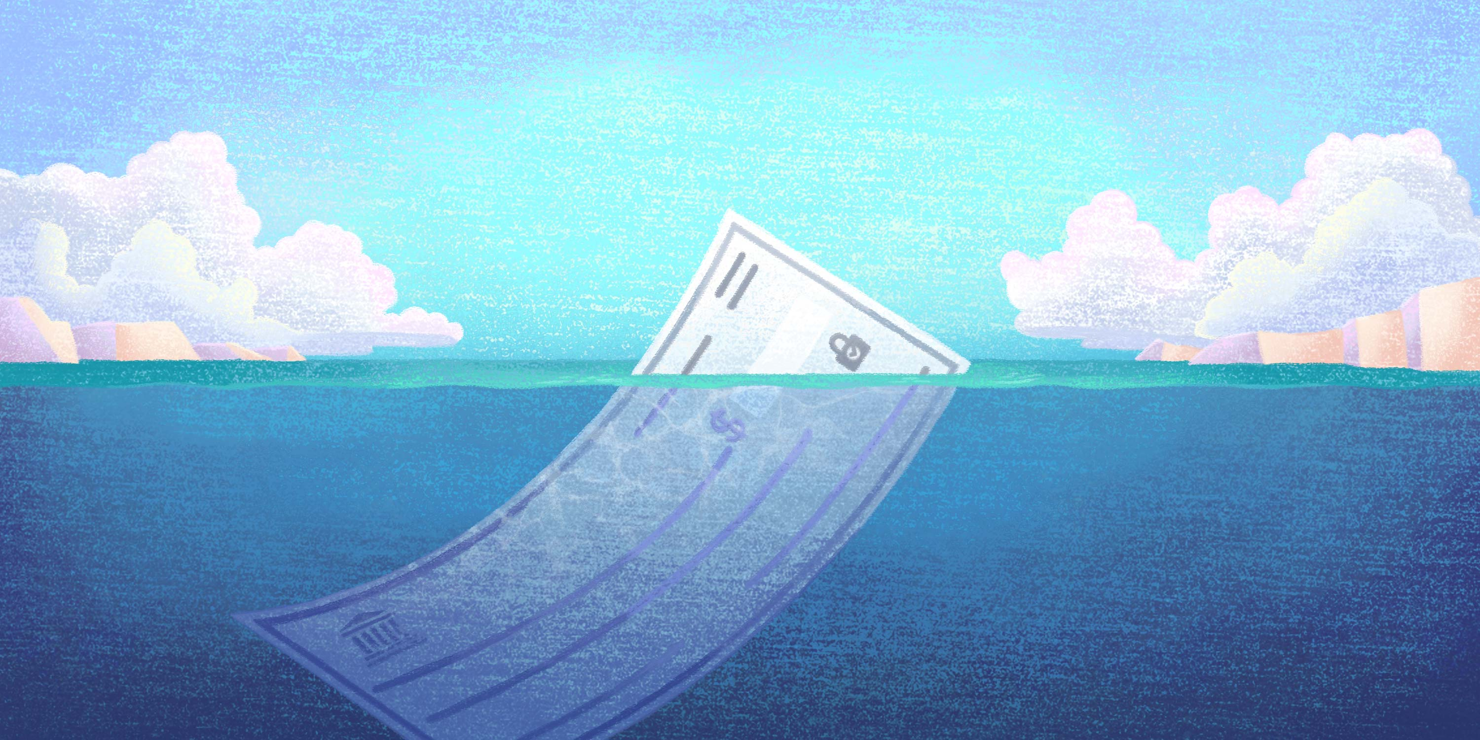 paper check poised to sink an organization like an iceberg in the ocean