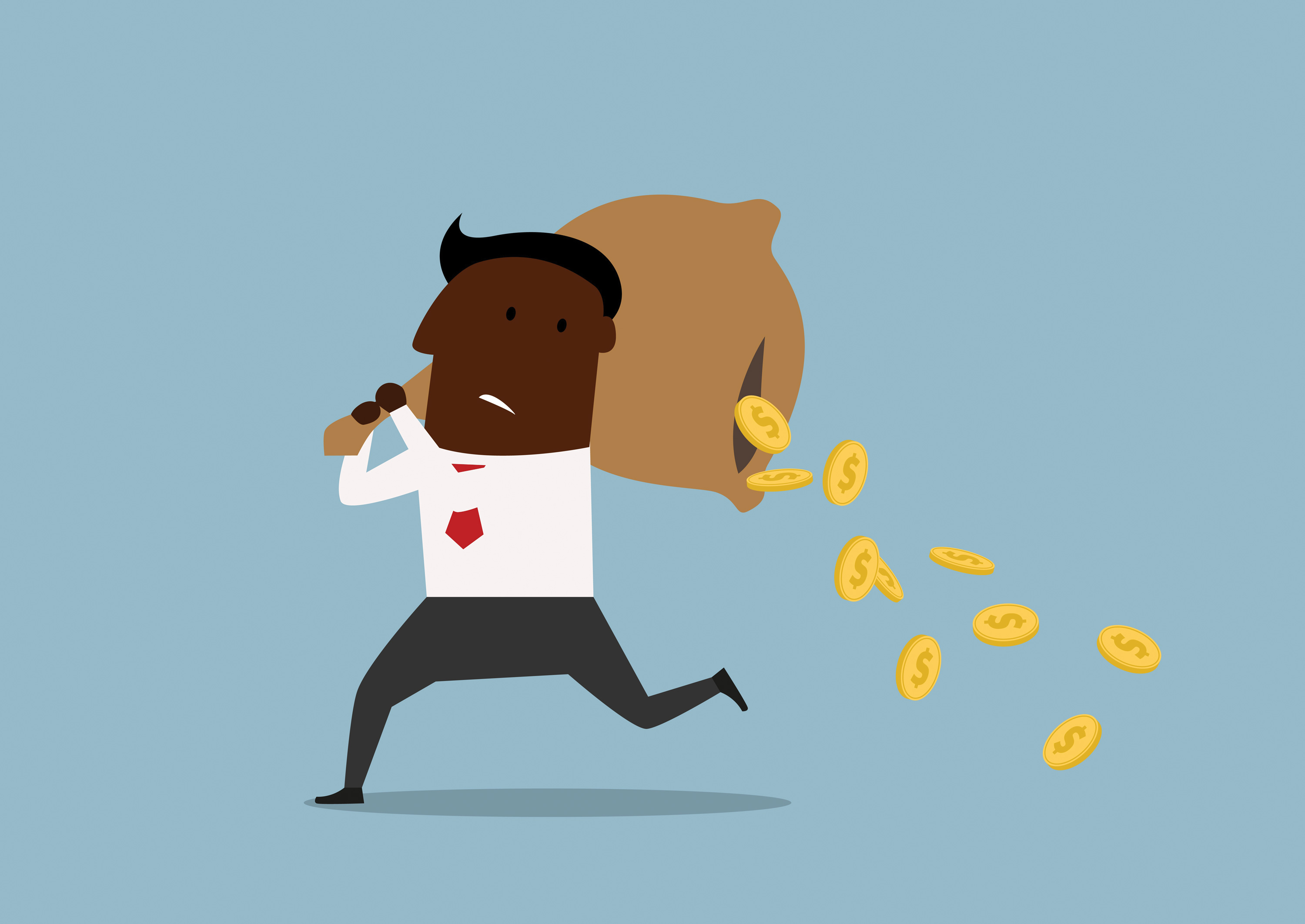 accounting specialist running with coins falling out of his cash bag