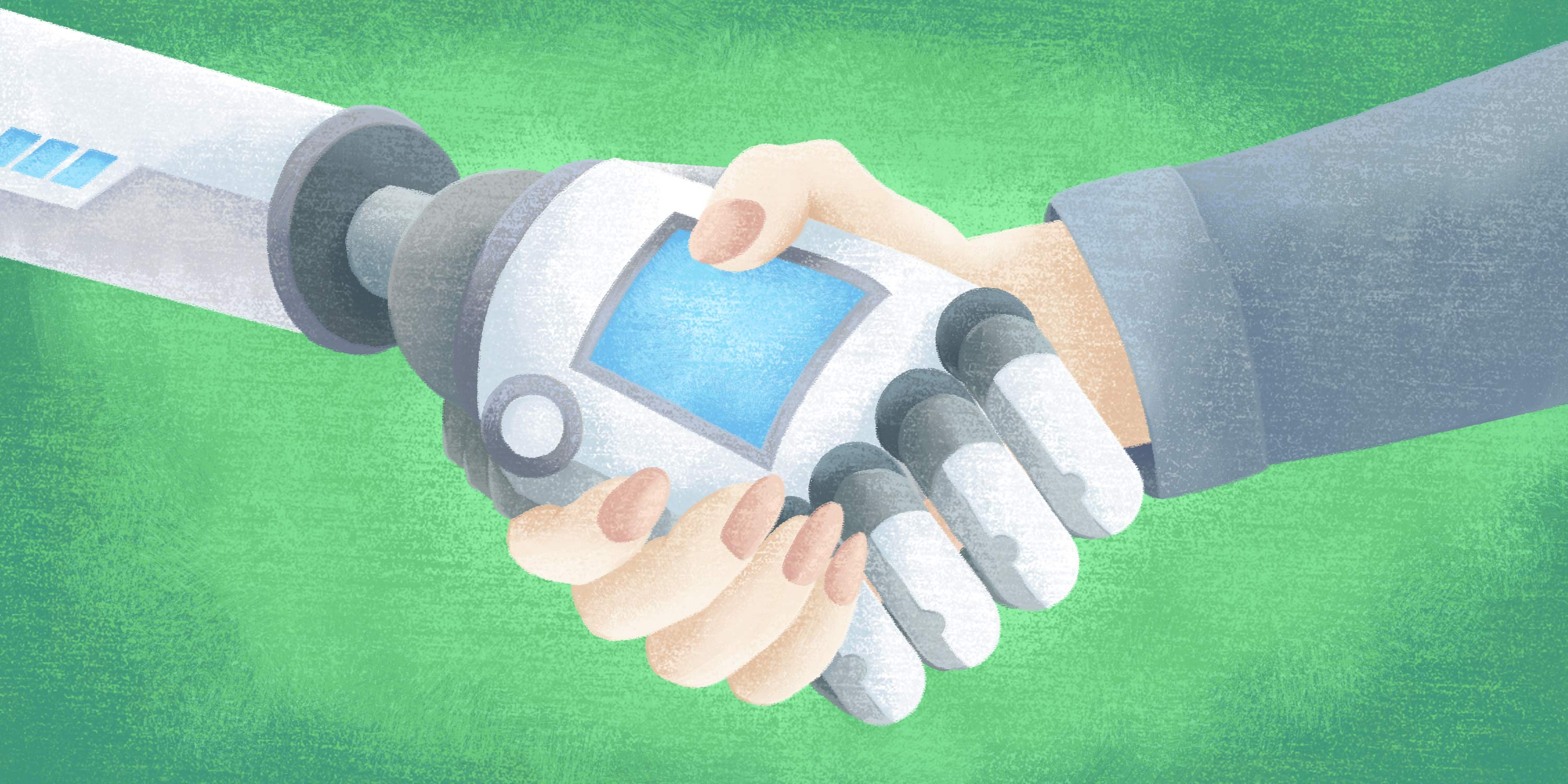 AI robot shaking hands with an accounts payable clerk