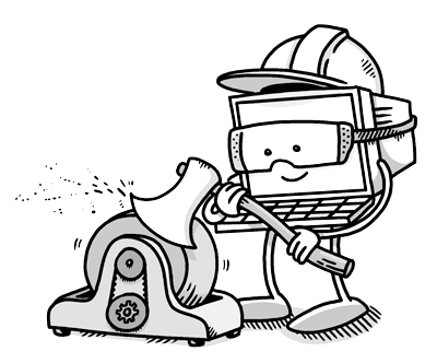payment automation computer wearing protective gear while sharpening an axe