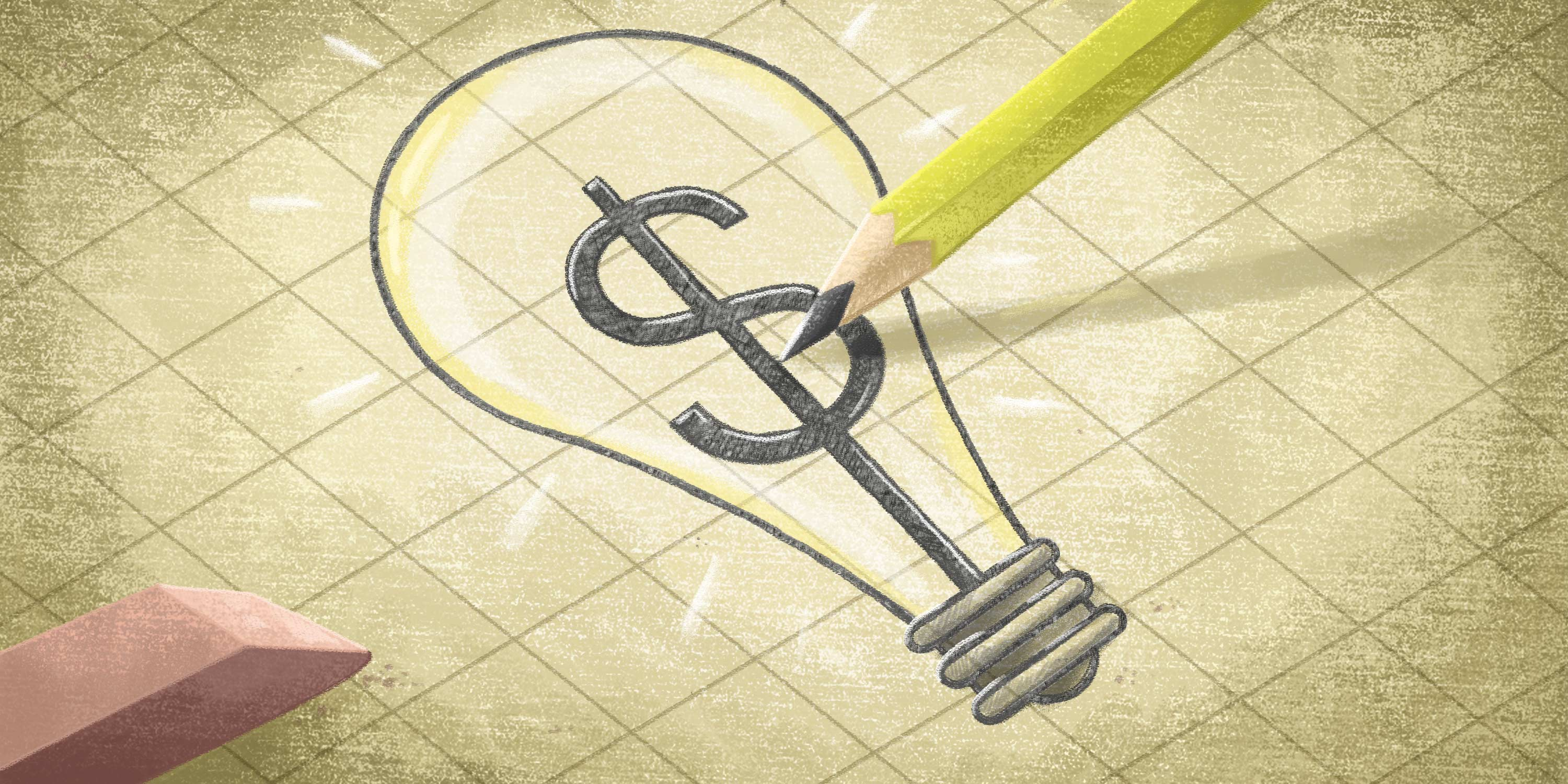 lightbulb showing innovation sketched on graph paper