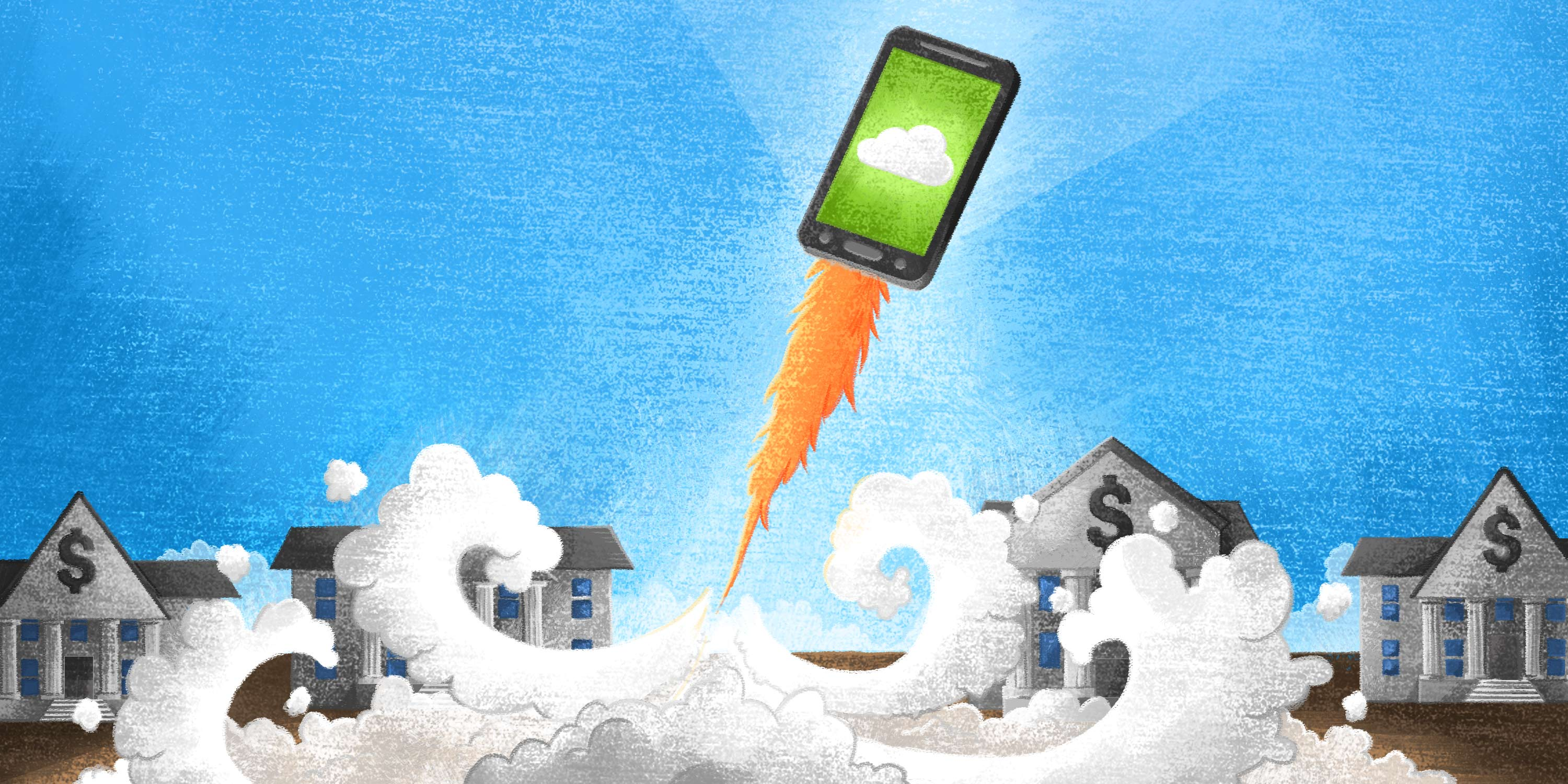 fintech b2b payments app on a smartphone blasting off like a rocket