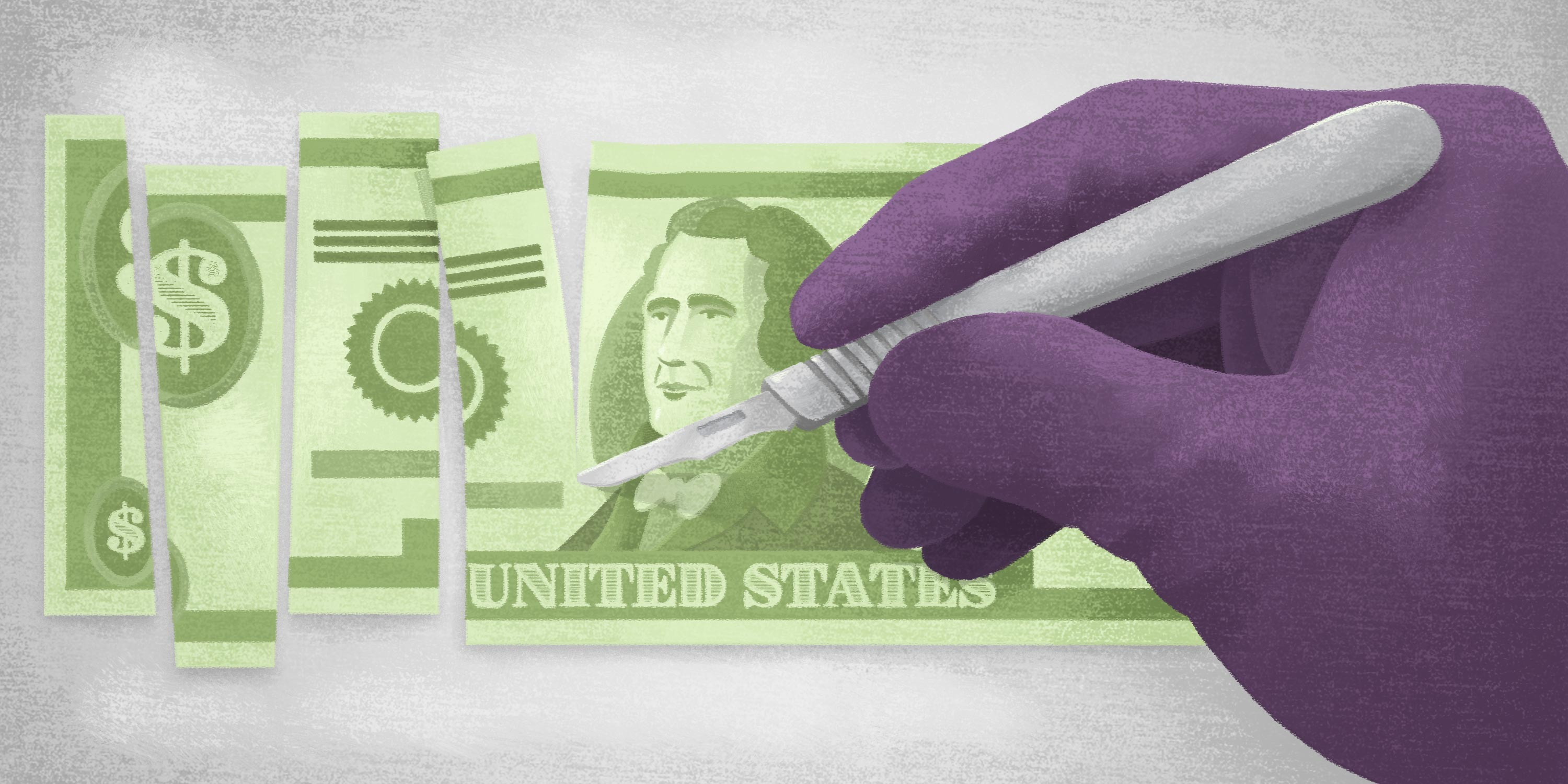 surgeon with scalpel dividing up cash for hospital expenses