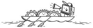 computer person directing gears who are rowing in a boat