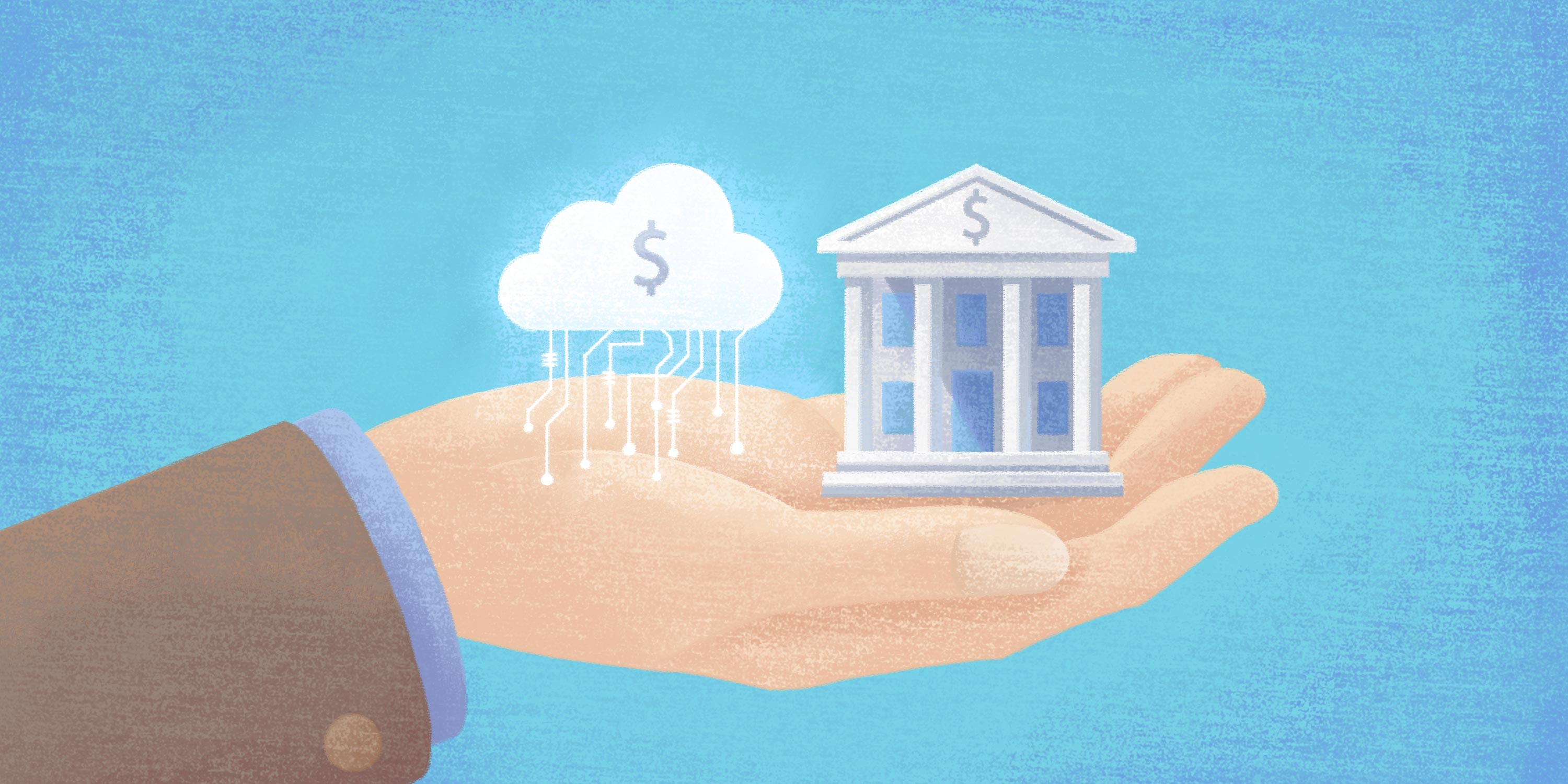 a bank and the cloud are held at equal levels within a human hand