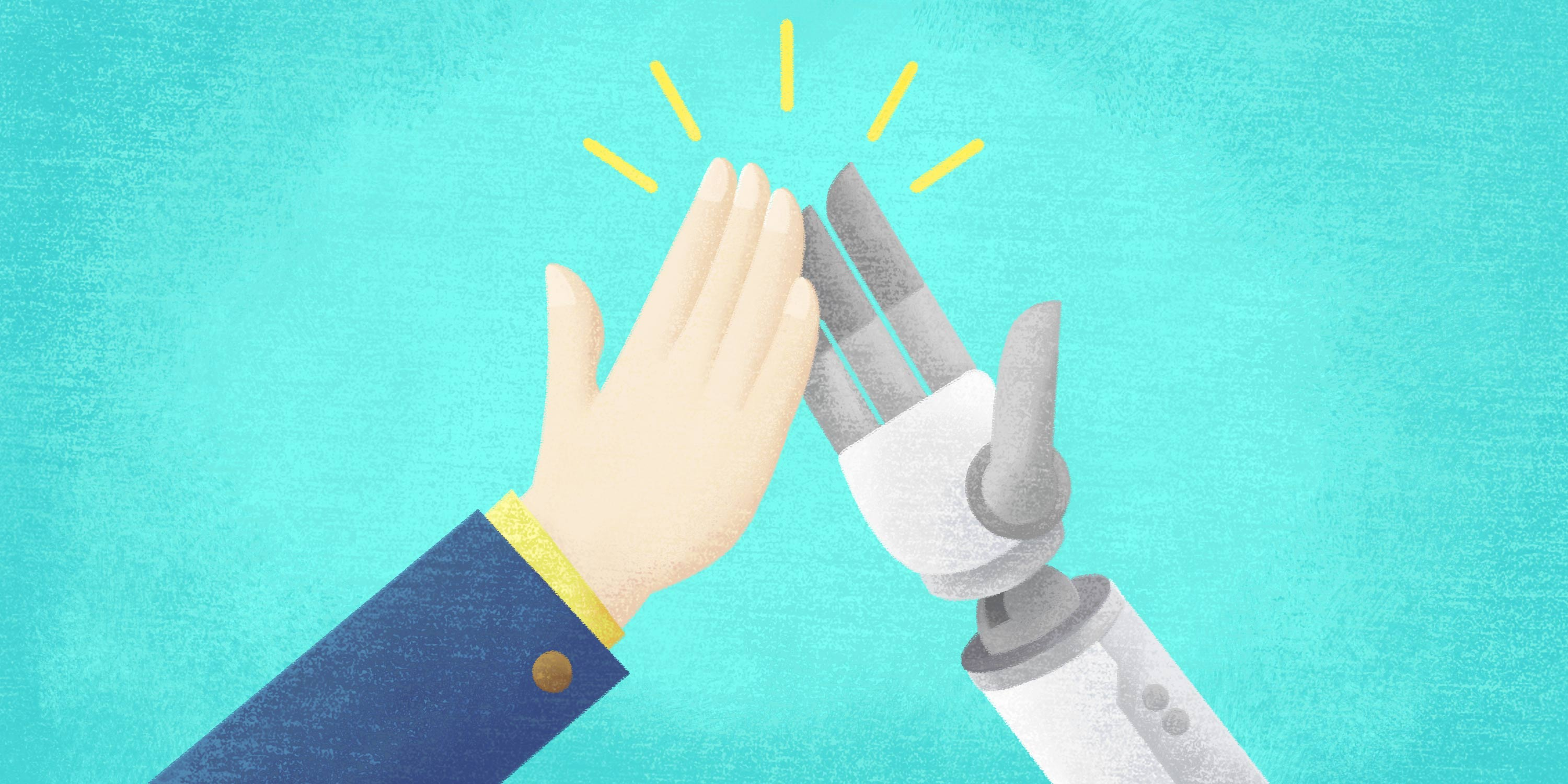 a human high fives a bot providing operational efficiency through automation
