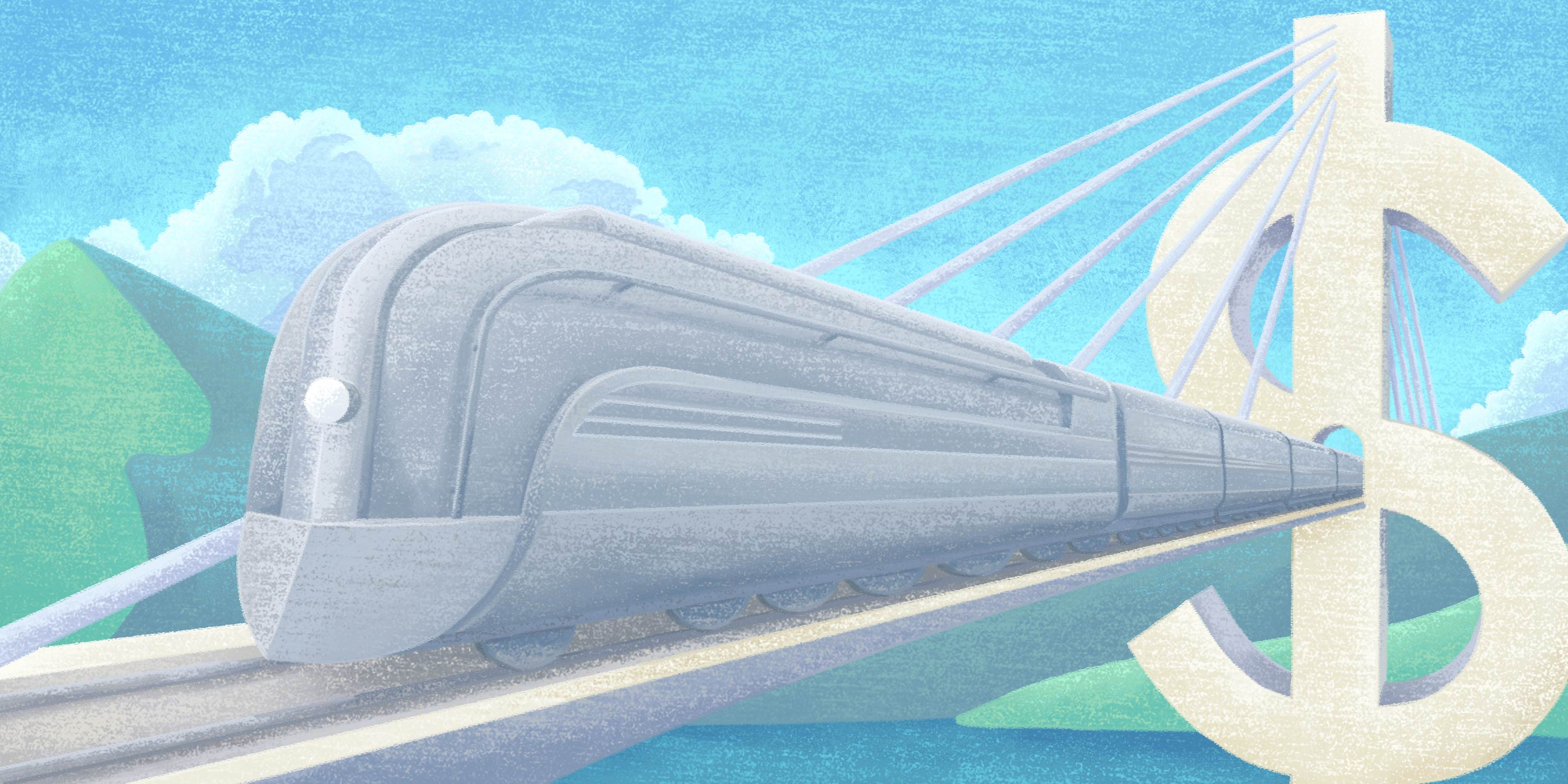 high-speed train depicts streamlined efficiencies and associated cost savings