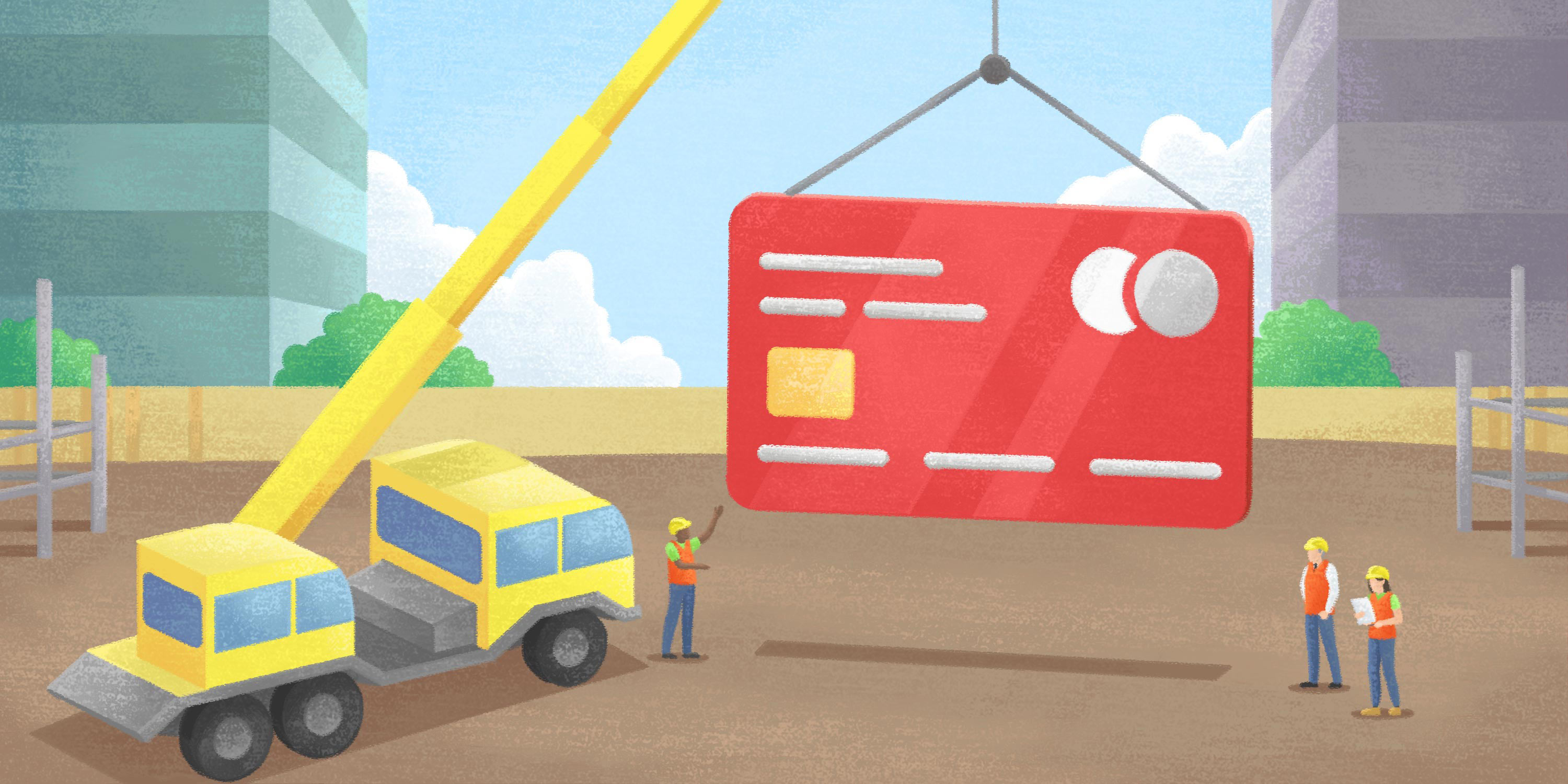 a construction crane hoists an AP payment card