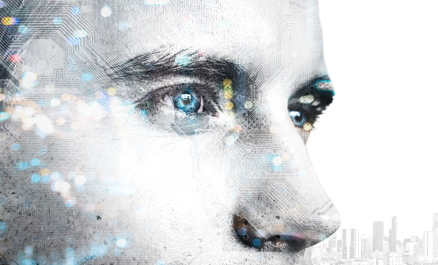 close up of human face looking toward digital transformation