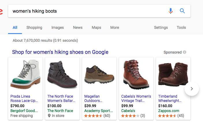 "PLA Query Segmentation - The general search for head term ""women's hiking boots"" returns varied results."