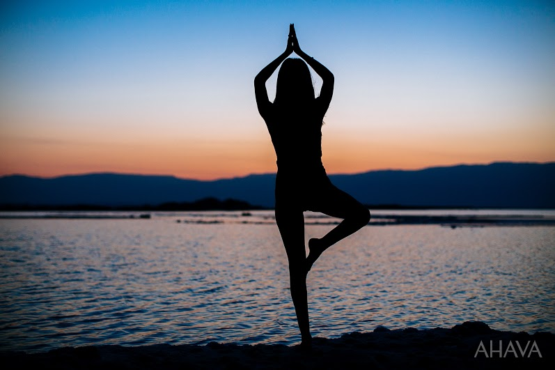 Yoga at the Dead Sea Shores on Vacation