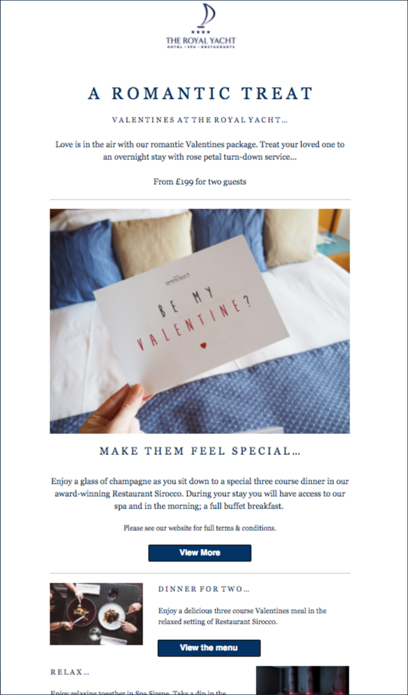 The Royal Yacht Valentine's Day Email Marketing Campaign