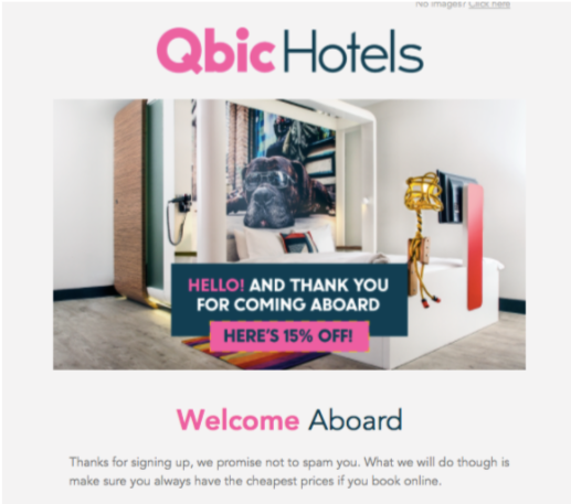 qbic hotels email screenshot