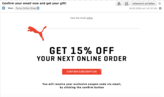 puma email screenshot