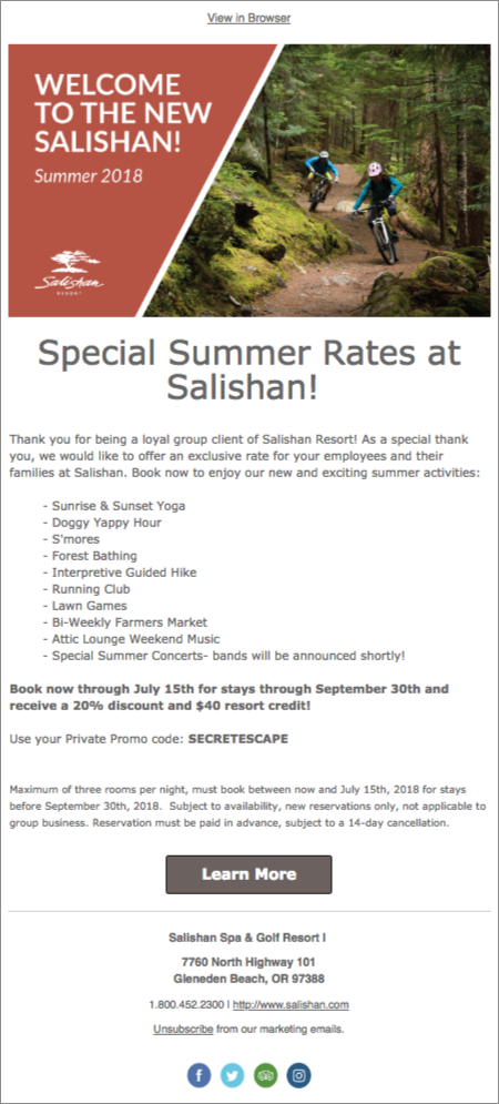 Salishan Resort email campaign