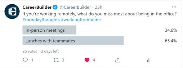 Twitter poll asking if you miss in-person meetings or lunch with teammates