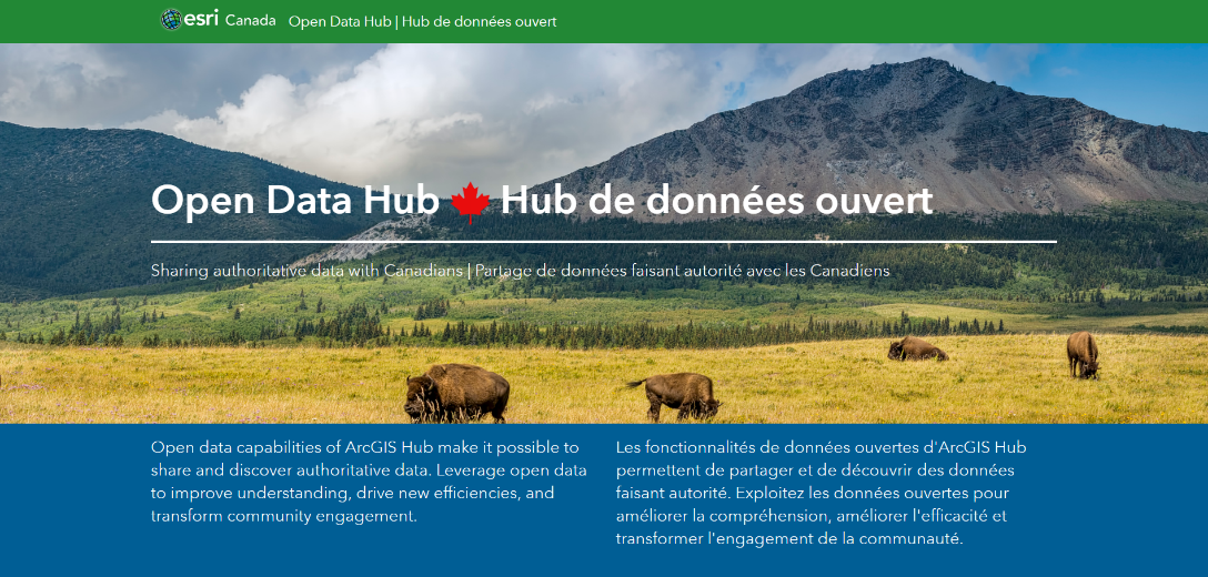 Esri Canada's Open Data Hub for exploring Canadian open data portals